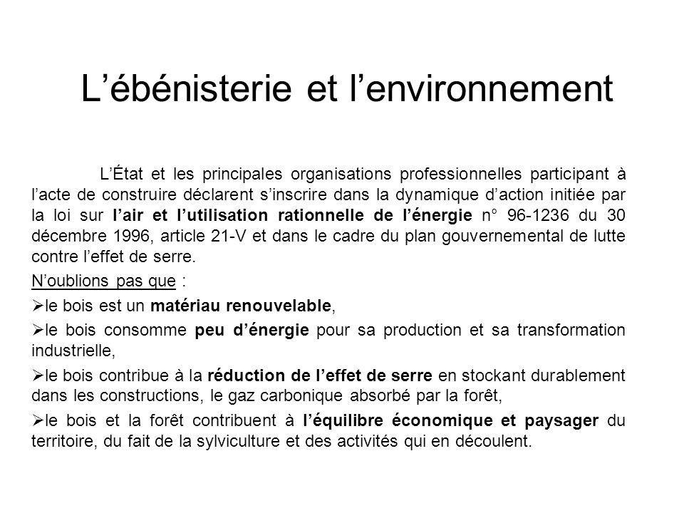 Lébénisterie et lenvironnement LÉtat et les principales organisations professionnelles participant à lacte de construire déclarent sinscrire dans la d