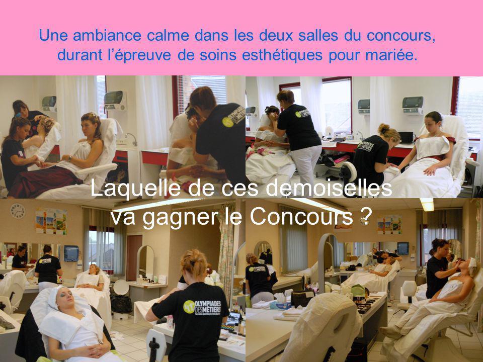 Une ambiance calme dans les deux salles du concours, durant lépreuve de soins esthétiques pour mariée.