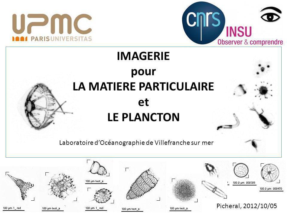 IMAGERIE pour LA MATIERE PARTICULAIRE et LE PLANCTON Picheral, 2012/10/05 Laboratoire dOcéanographie de Villefranche sur mer