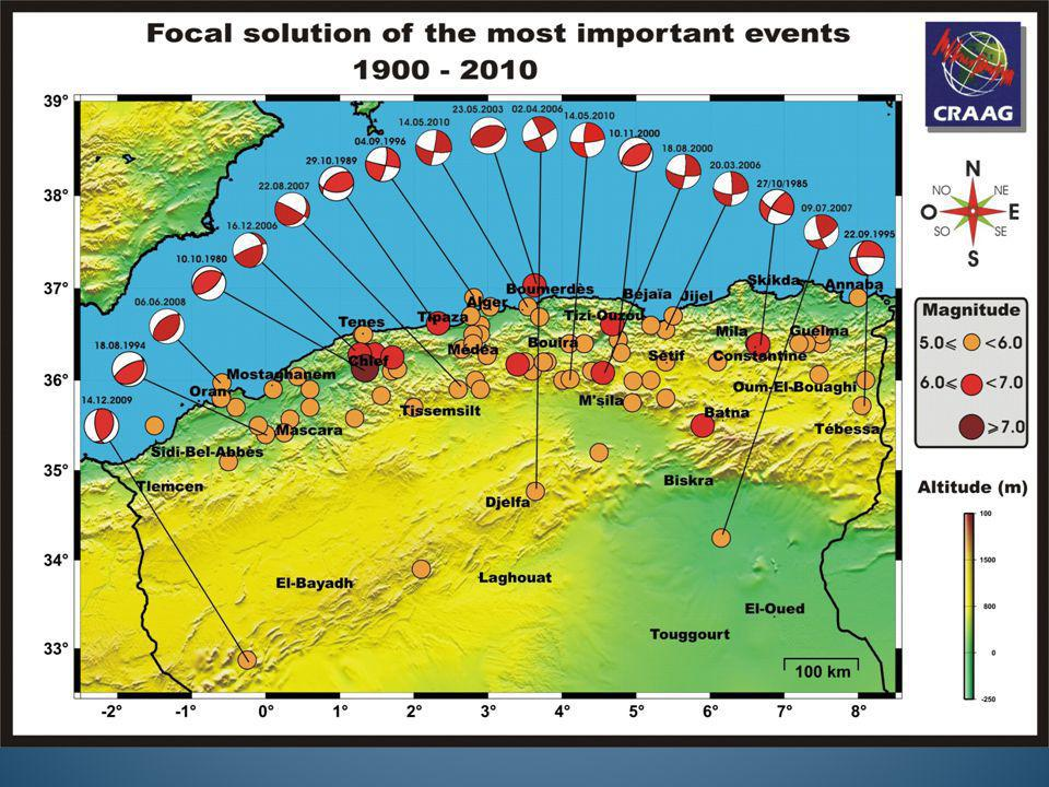 Historical seismicity Earthquake-related deformation : - Offshore seismicity known since 3 centuries at least, but poorly estimated - « Coastal » earthquakes (< 100 km from coastline) are the strongest and best documented Benouar, 2001 Boughacha et al., 2004 1716–1910 and 1911-2000: 2430 events, 4 « seismogenic sub-regions », - 1350-1950: only 6 events with IX and more (6.5 < M < 7.5): Algiers 02.01.1365 Probable tsunami Algiers 03.02.1716 20 000 killed Oran 09.10.1790 3000 killed Blida 02.03 1825 7000 killed Jijel 22.08.1856 tsunami Gouraya 15.01.1891 40 killed tsunami poorly documented Sources poorly constrained, except 1856 (Jijel) Intensity map (before the 2003 event) - « Discontinuous coverage » - « Deficient record » A