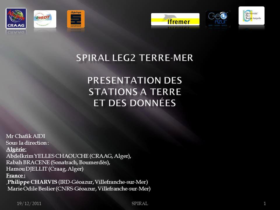 Mr Chafik AIDI Sous la direction : Algérie : Abdelkrim YELLES CHAOUCHE (CRAAG, Alger), Rabah BRACENE (Sonatrach, Boumerdès), Hamou DJELLIT (Craag, Alger) France : Philippe CHARVIS (IRD-Géoazur, Villefranche-sur-Mer) Marie Odile Beslier (CNRS-Géoazur, Villefranche-sur-Mer) 19/12/2011SPIRAL1