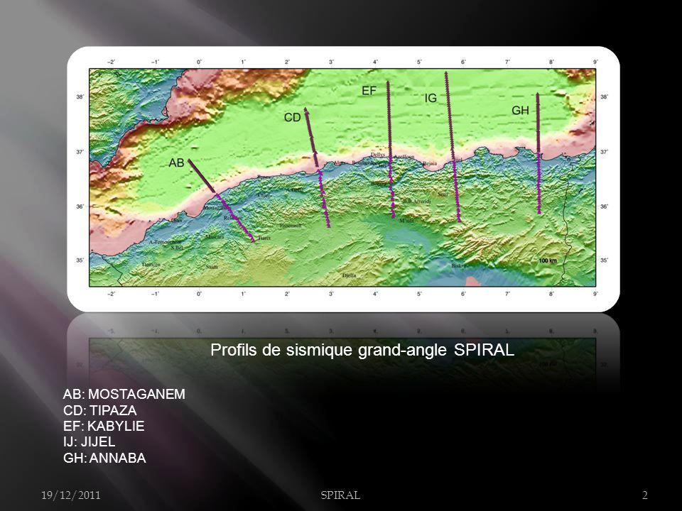 AB: MOSTAGANEM CD: TIPAZA EF: KABYLIE IJ: JIJEL GH: ANNABA Profils de sismique grand-angle SPIRAL 19/12/2011SPIRAL2