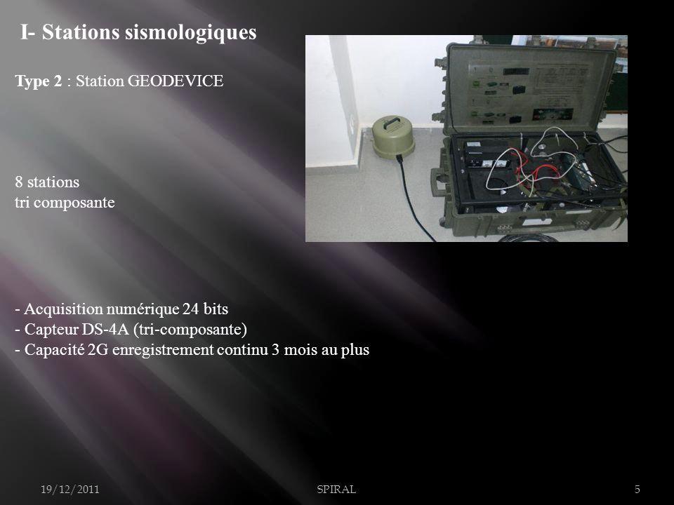 - Acquisition numérique 24 bits - Capteur SS1 (mono-composante) - Capacité 20 G enregistrement continu Sismomètre SS1 19/12/2011SPIRAL6 Type 3 KINEMETRICS : 8 stations Mono composante I- Stations sismologiques