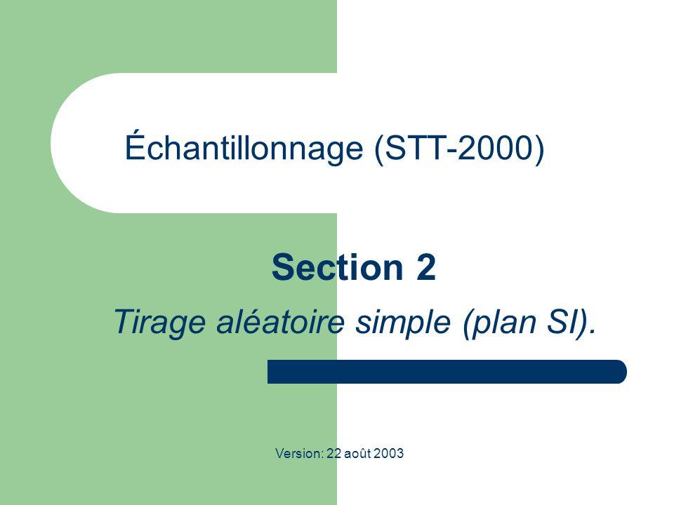 Échantillonnage (STT-2000) Section 2 Tirage aléatoire simple (plan SI). Version: 22 août 2003