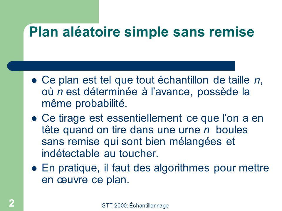 STT-2000; Échantillonnage 2 Plan aléatoire simple sans remise Ce plan est tel que tout échantillon de taille n, où n est déterminée à lavance, possède la même probabilité.