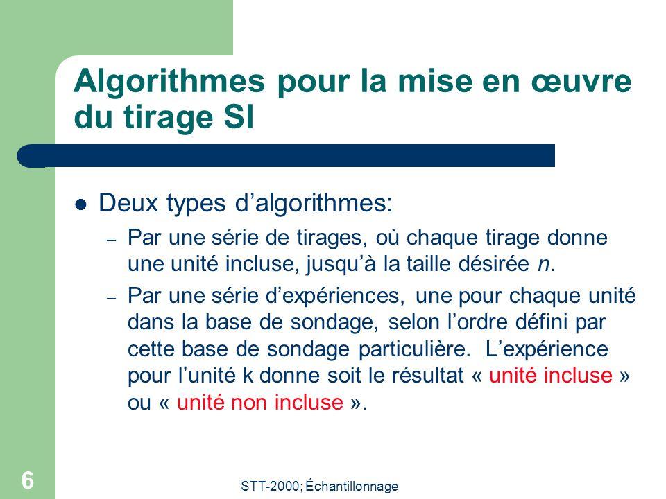 STT-2000; Échantillonnage 6 Algorithmes pour la mise en œuvre du tirage SI Deux types dalgorithmes: – Par une série de tirages, où chaque tirage donne une unité incluse, jusquà la taille désirée n.