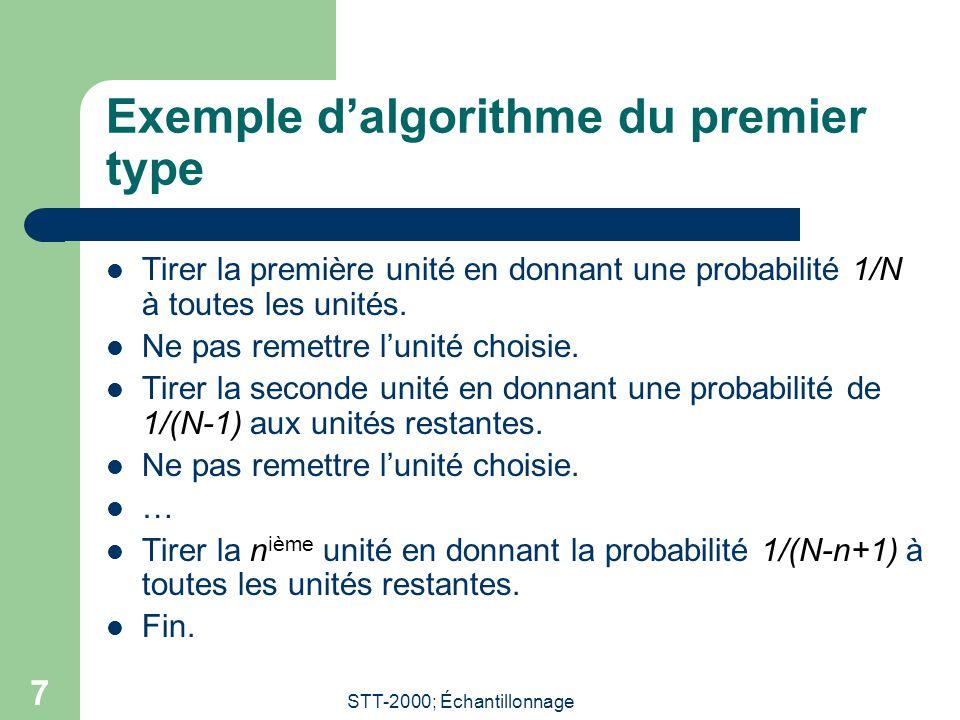 STT-2000; Échantillonnage 7 Exemple dalgorithme du premier type Tirer la première unité en donnant une probabilité 1/N à toutes les unités.