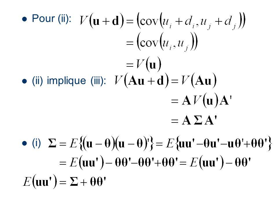 Pour (ii): (ii) implique (iii): (i)