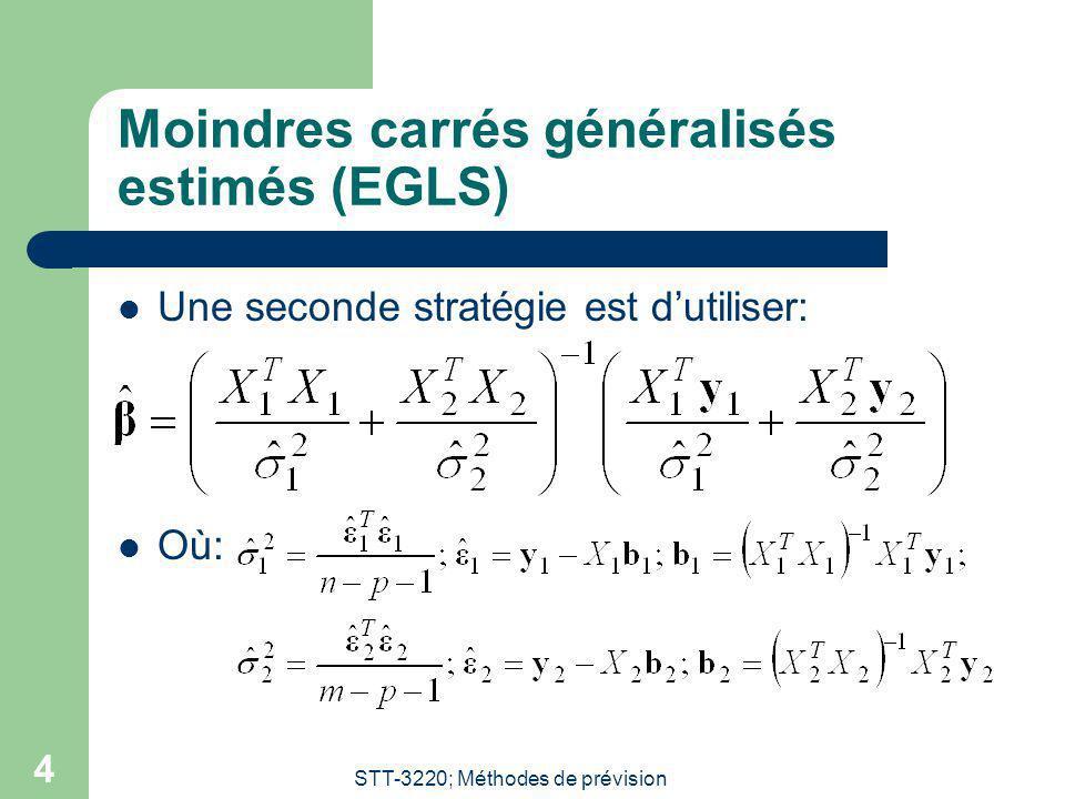 STT-3220; Méthodes de prévision 4 Moindres carrés généralisés estimés (EGLS) Une seconde stratégie est dutiliser: Où: