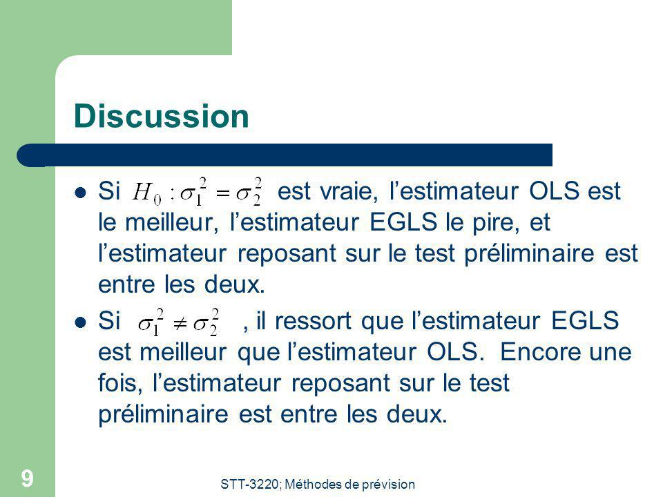 STT-3220; Méthodes de prévision 9 Discussion Si est vraie, lestimateur OLS est le meilleur, lestimateur EGLS le pire, et lestimateur reposant sur le test préliminaire est entre les deux.