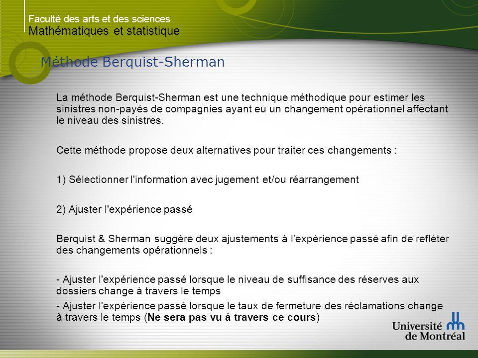 Faculté des arts et des sciences Mathématiques et statistique Méthode Berquist-Sherman La méthode Berquist-Sherman est une technique méthodique pour e