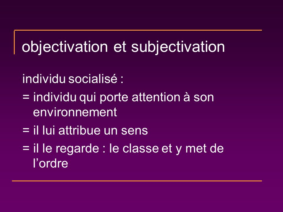 objectivation et subjectivation individu socialisé : = individu qui porte attention à son environnement = il lui attribue un sens = il le regarde : le