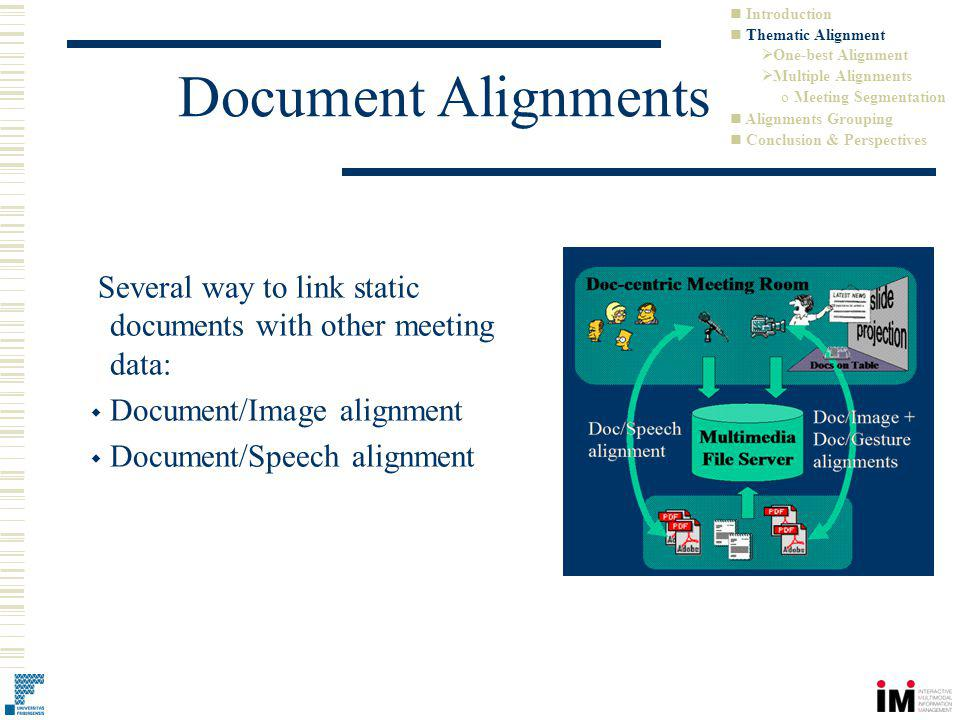 Document Alignments Several way to link static documents with other meeting data: Document/Image alignment Document/Speech alignment Introduction Thematic Alignment One-best Alignment Multiple Alignments o Meeting Segmentation Alignments Grouping Conclusion & Perspectives
