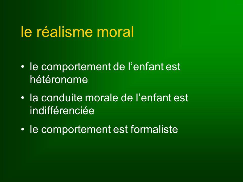 le réalisme moral le comportement de lenfant est hétéronome la conduite morale de lenfant est indifférenciée le comportement est formaliste