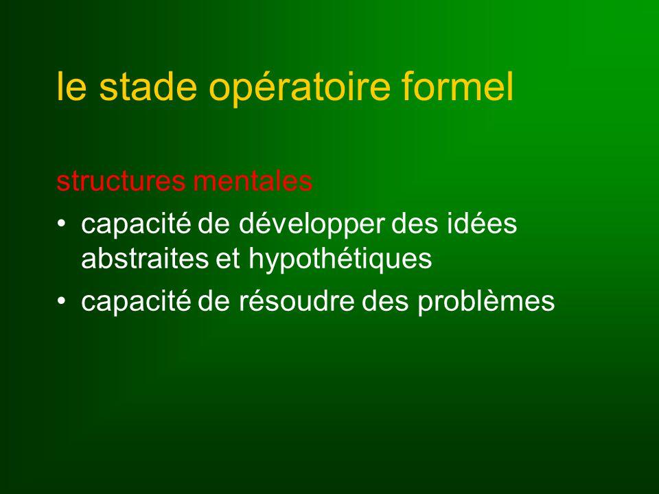 le stade opératoire formel structures mentales capacité de développer des idées abstraites et hypothétiques capacité de résoudre des problèmes