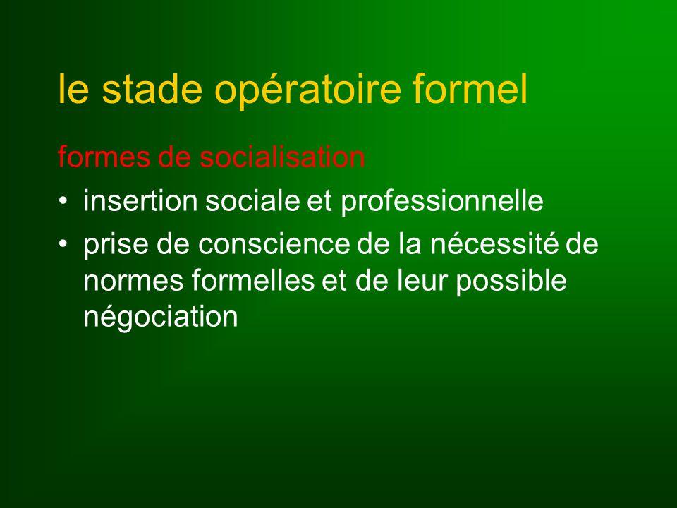 le stade opératoire formel formes de socialisation insertion sociale et professionnelle prise de conscience de la nécessité de normes formelles et de leur possible négociation