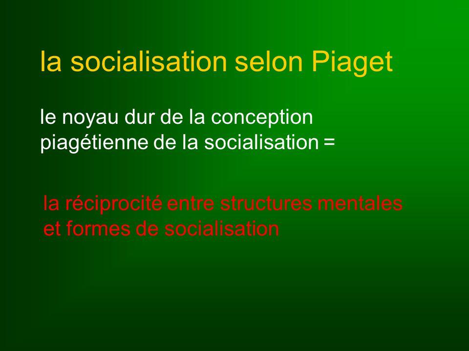 la socialisation selon Piaget le noyau dur de la conception piagétienne de la socialisation = la réciprocité entre structures mentales et formes de socialisation