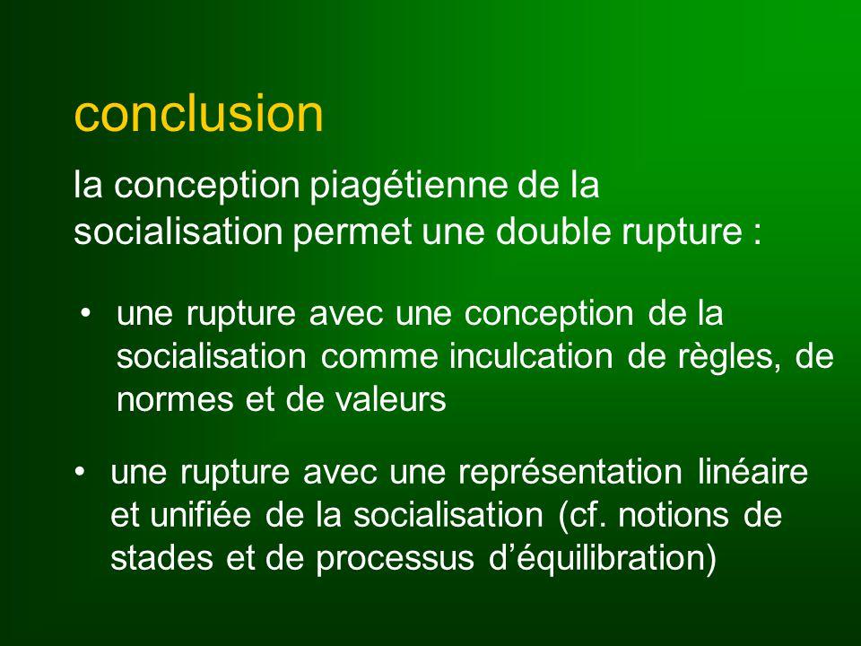 conclusion la conception piagétienne de la socialisation permet une double rupture : une rupture avec une conception de la socialisation comme inculcation de règles, de normes et de valeurs une rupture avec une représentation linéaire et unifiée de la socialisation (cf.