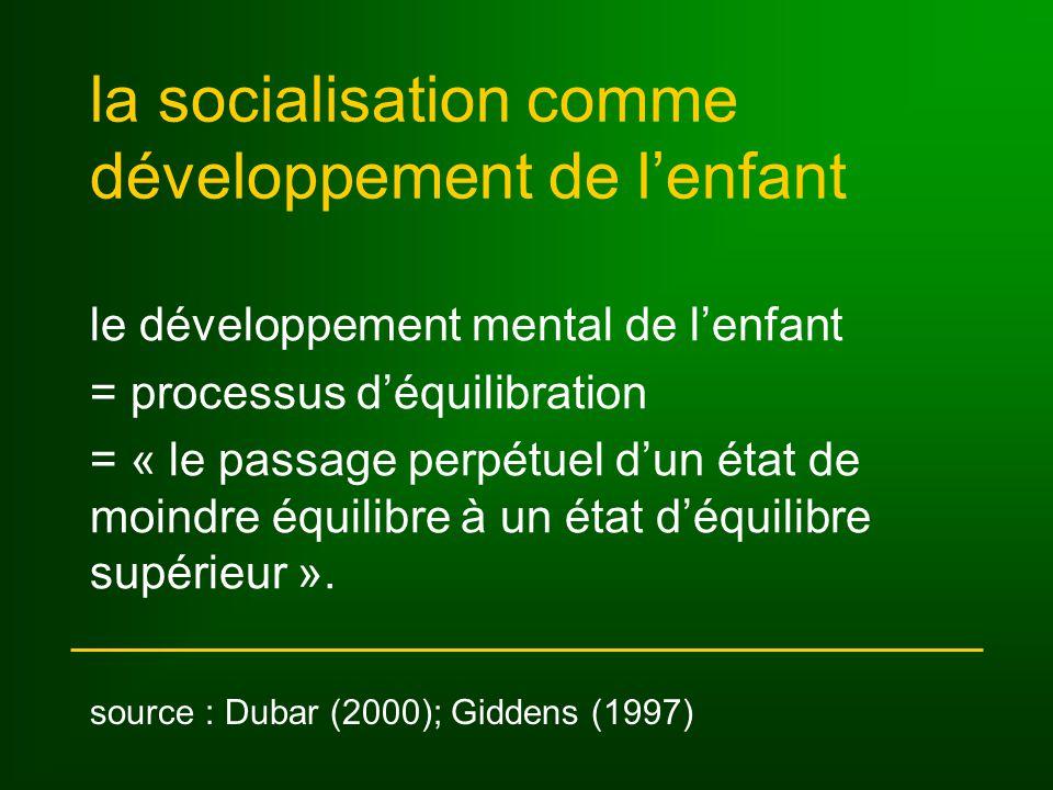 la socialisation comme développement de lenfant le développement mental de lenfant = processus déquilibration = « le passage perpétuel dun état de moindre équilibre à un état déquilibre supérieur ».