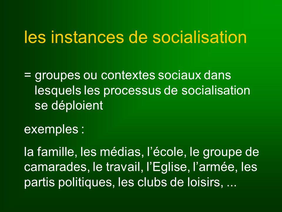 les instances de socialisation = groupes ou contextes sociaux dans lesquels les processus de socialisation se déploient exemples : la famille, les médias, lécole, le groupe de camarades, le travail, lEglise, larmée, les partis politiques, les clubs de loisirs,...