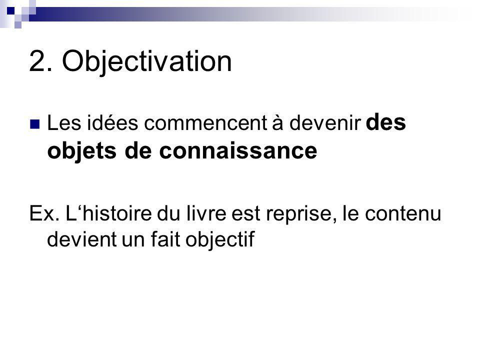 2.Objectivation Les idées commencent à devenir des objets de connaissance Ex.