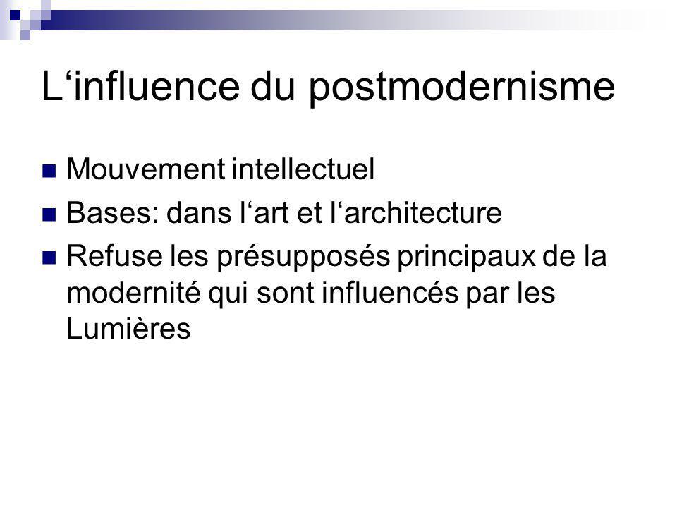Linfluence du postmodernisme Mouvement intellectuel Bases: dans lart et larchitecture Refuse les présupposés principaux de la modernité qui sont influencés par les Lumières