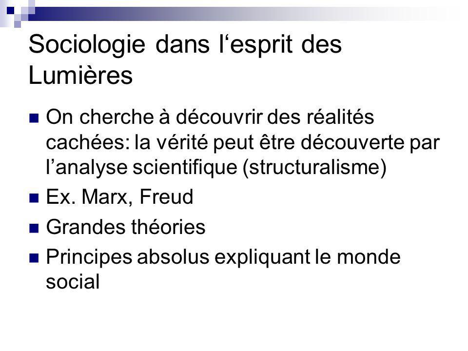 Sociologie dans lesprit des Lumières On cherche à découvrir des réalités cachées: la vérité peut être découverte par lanalyse scientifique (structuralisme) Ex.