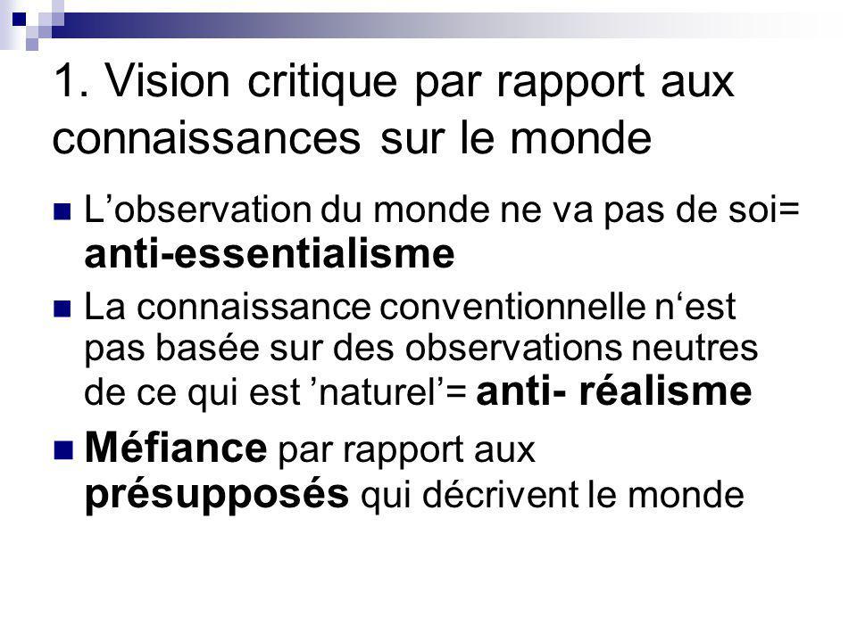 1. Vision critique par rapport aux connaissances sur le monde Lobservation du monde ne va pas de soi= anti-essentialisme La connaissance conventionnel
