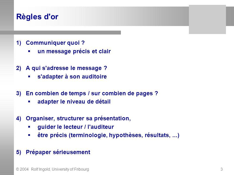 © 2004 Rolf Ingold, University of Fribourg4 Forme de communications L exposé oral Le poster (affiche) L article scientifique