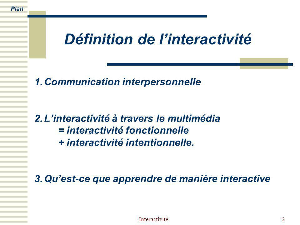 Interactivité2 1.Communication interpersonnelle 2.Linteractivité à travers le multimédia = interactivité fonctionnelle + interactivité intentionnelle.