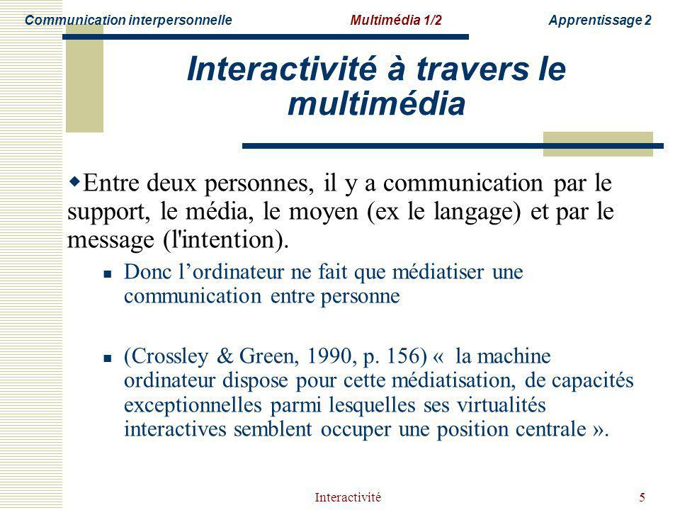 Interactivité5 Interactivité à travers le multimédia Entre deux personnes, il y a communication par le support, le média, le moyen (ex le langage) et par le message (l intention).