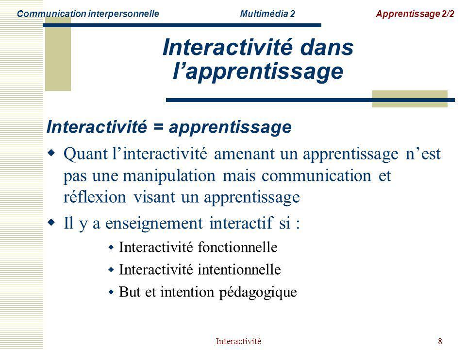 Interactivité8 Interactivité dans lapprentissage Interactivité = apprentissage Quant linteractivité amenant un apprentissage nest pas une manipulation