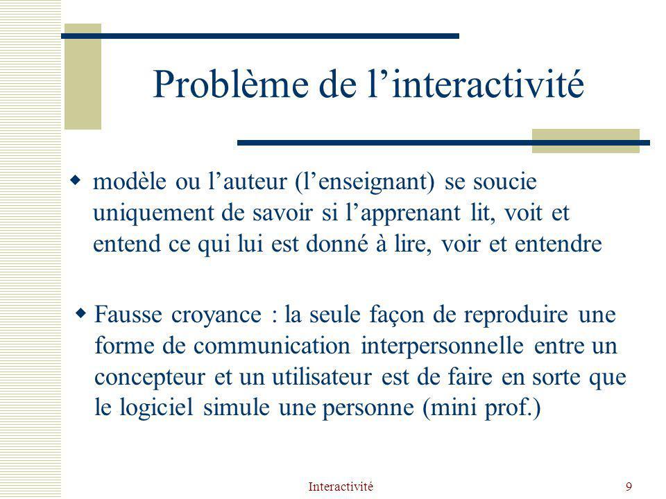 Interactivité9 Problème de linteractivité modèle ou lauteur (lenseignant) se soucie uniquement de savoir si lapprenant lit, voit et entend ce qui lui