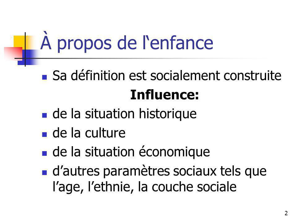 2 À propos de lenfance Sa définition est socialement construite Influence: de la situation historique de la culture de la situation économique dautres paramètres sociaux tels que lage, lethnie, la couche sociale