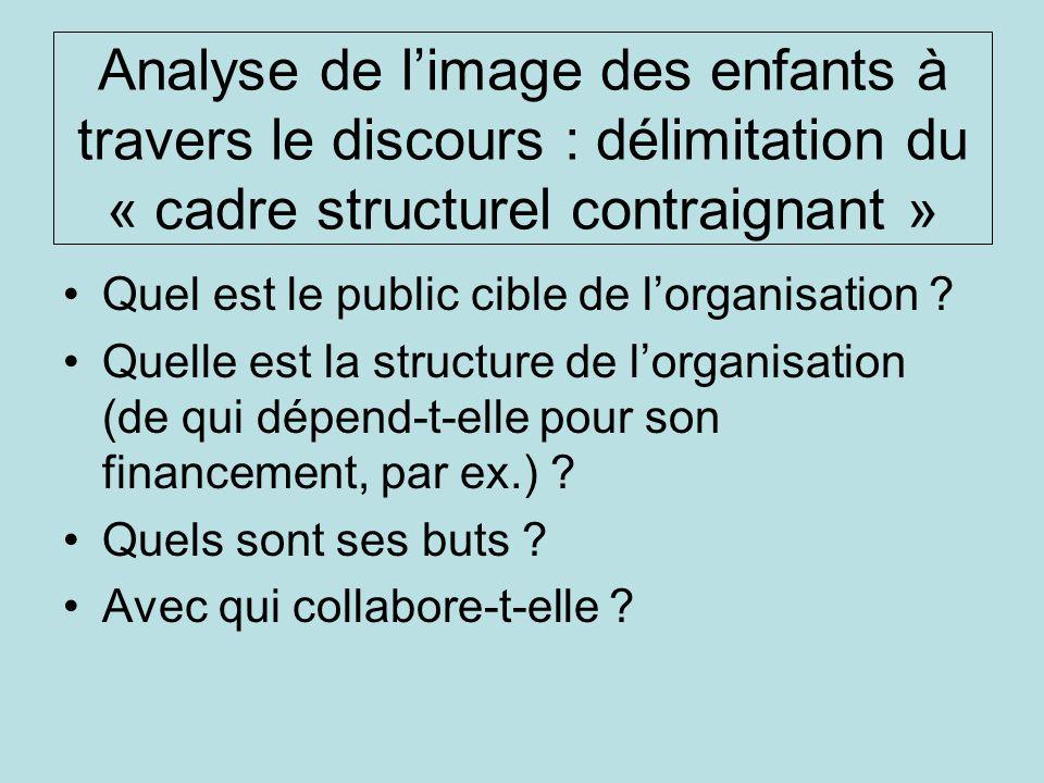 Analyse de limage des enfants à travers le discours : délimitation du « cadre structurel contraignant » Quel est le public cible de lorganisation ? Qu