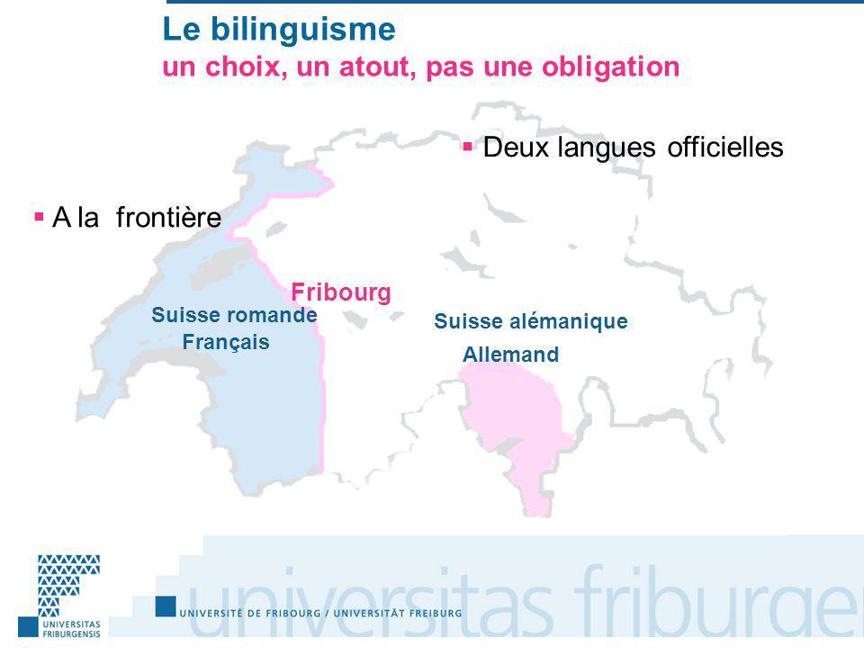 Le bilinguisme un choix, un atout, pas une obligation A la frontière Suisse romande Suisse alémanique Français Allemand Deux langues officielles Fribourg