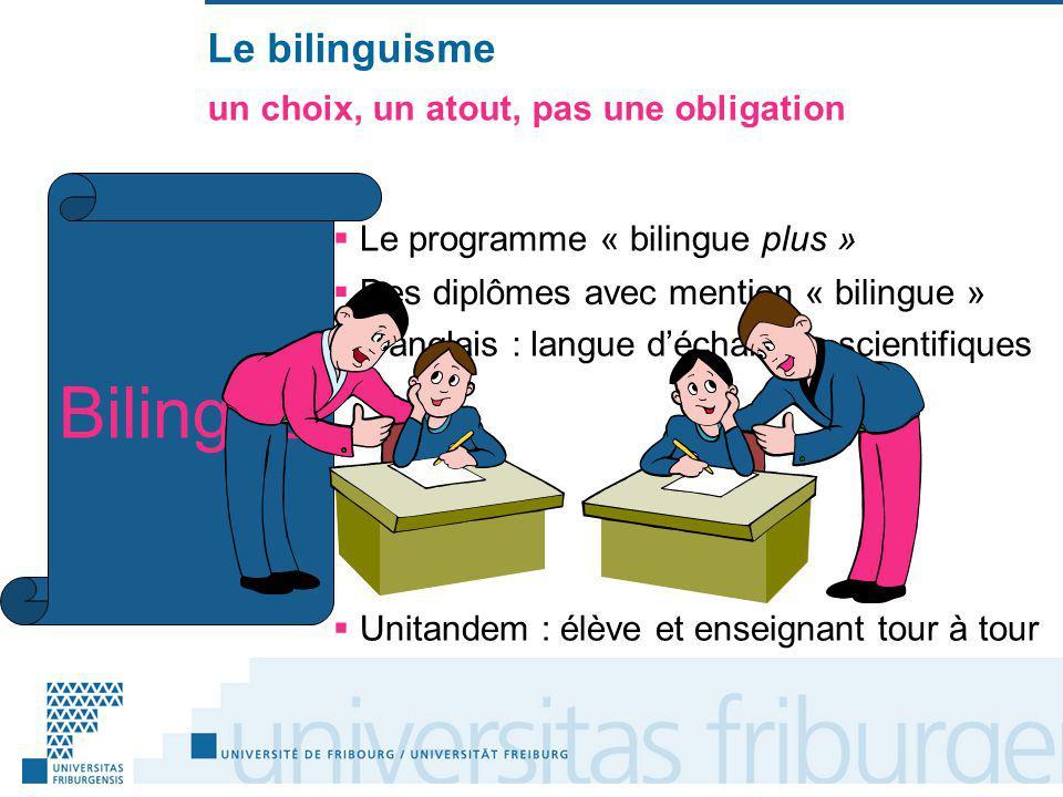 Le bilinguisme un choix, un atout, pas une obligation Le programme « bilingue plus » Des diplômes avec mention « bilingue » Bilingue Langlais : langue déchanges scientifiques Unitandem : élève et enseignant tour à tour
