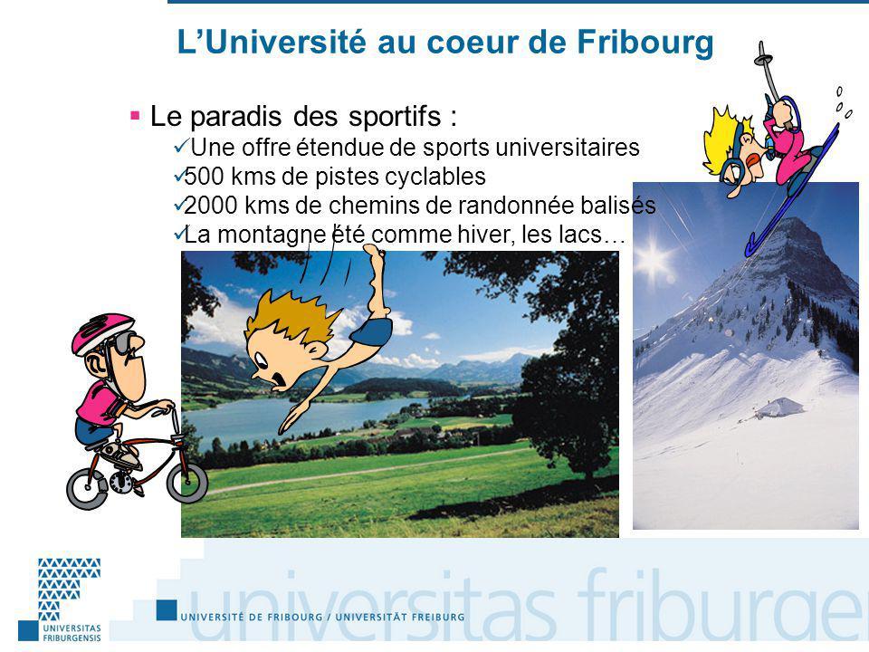 LUniversité au coeur de Fribourg Le paradis des sportifs : Une offre étendue de sports universitaires 500 kms de pistes cyclables 2000 kms de chemins de randonnée balisés La montagne été comme hiver, les lacs…