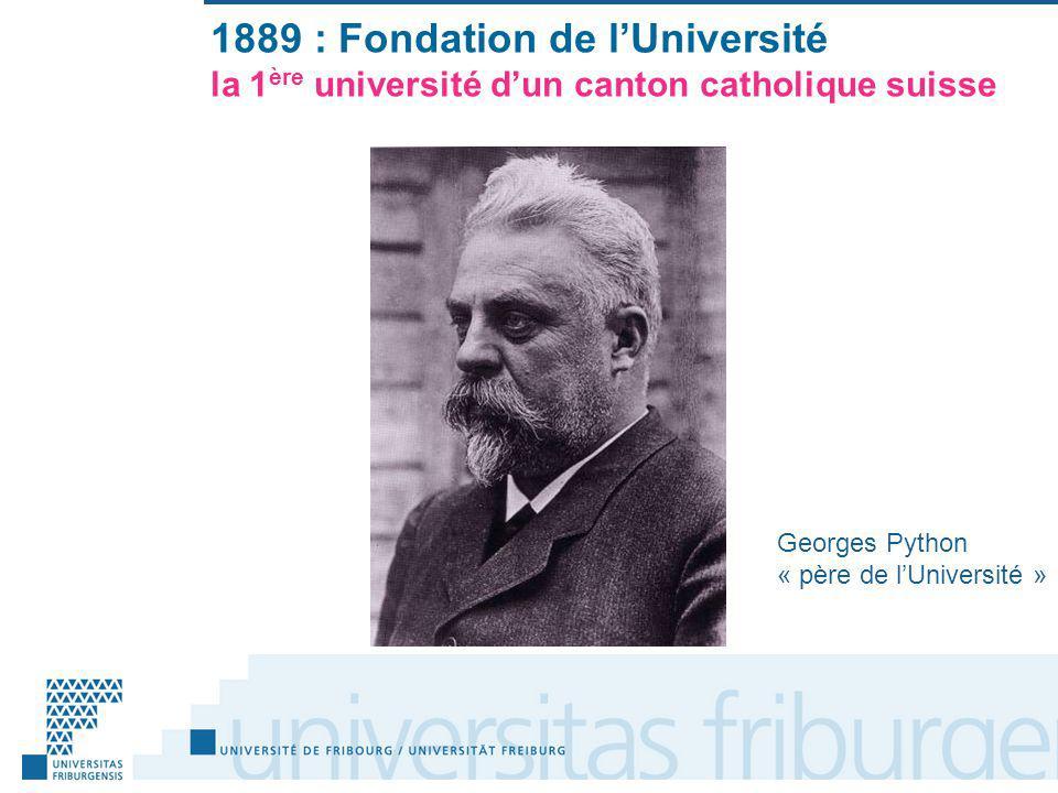 1889 : Fondation de lUniversité la 1 ère université dun canton catholique suisse Georges Python « père de lUniversité »