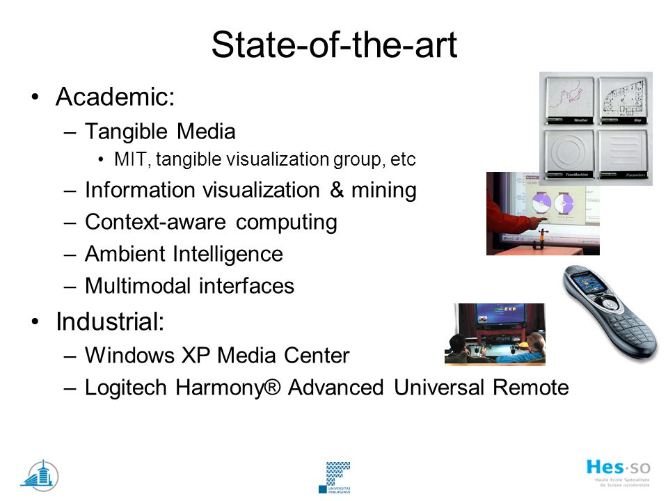 State-of-the-art Academic: –Tangible Media MIT, tangible visualization group, etc –Information visualization & mining –Context-aware computing –Ambien