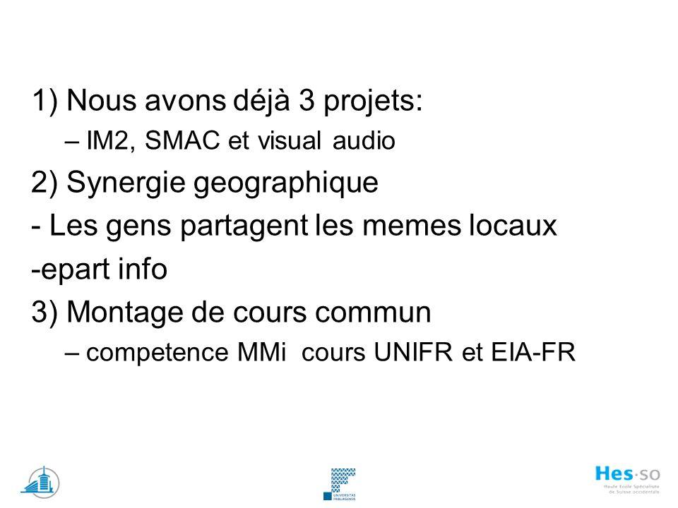 1) Nous avons déjà 3 projets: –IM2, SMAC et visual audio 2) Synergie geographique - Les gens partagent les memes locaux -epart info 3) Montage de cours commun –competence MMi cours UNIFR et EIA-FR