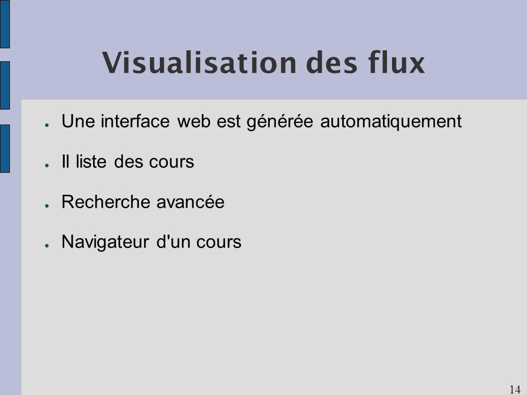 14 Visualisation des flux Une interface web est générée automatiquement Il liste des cours Recherche avancée Navigateur d un cours