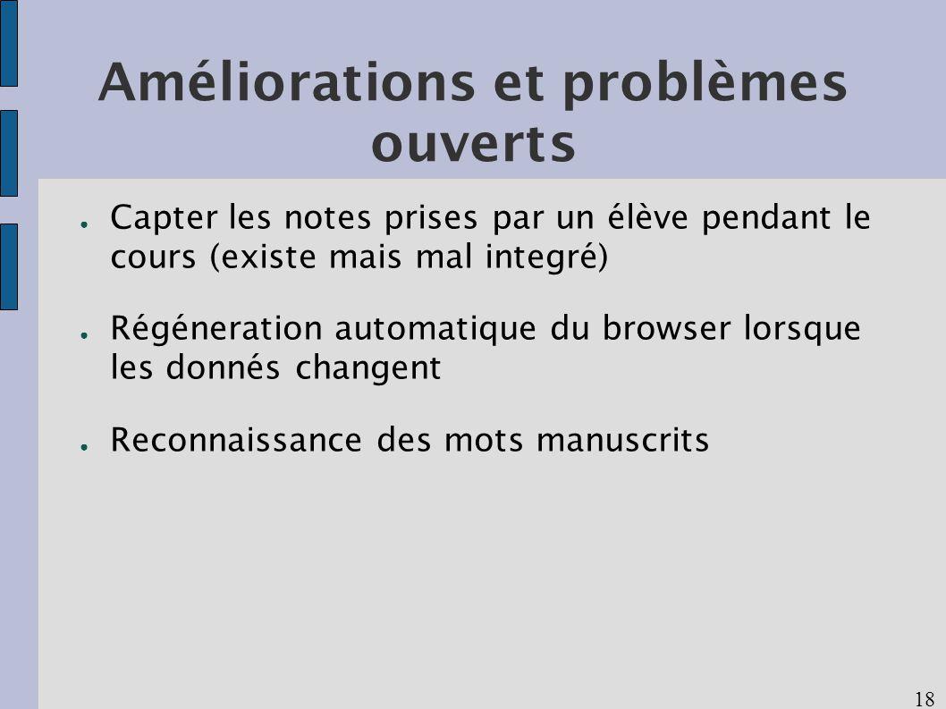 18 Améliorations et problèmes ouverts Capter les notes prises par un élève pendant le cours (existe mais mal integré) Régéneration automatique du browser lorsque les donnés changent Reconnaissance des mots manuscrits