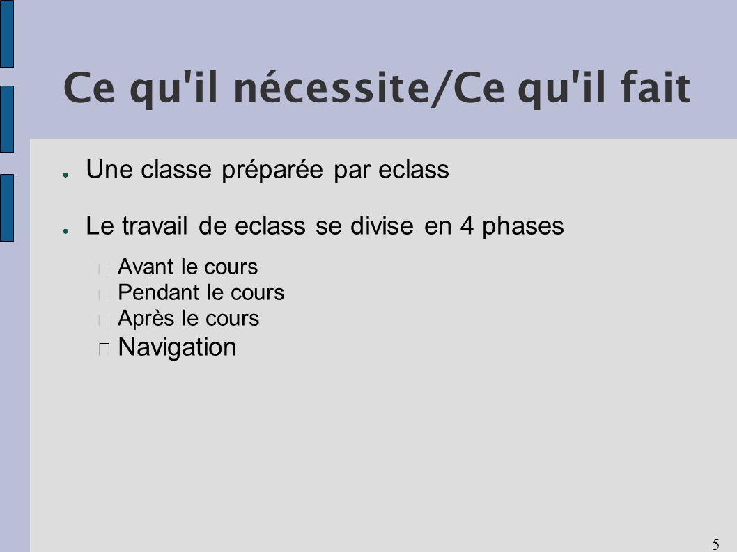 5 Ce qu il nécessite/Ce qu il fait Une classe préparée par eclass Le travail de eclass se divise en 4 phases Avant le cours Pendant le cours Après le cours Navigation