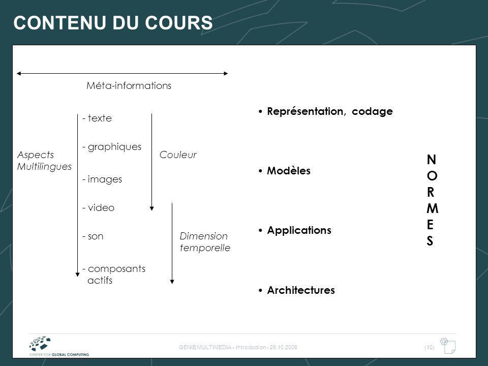 GENIE MULTIMEDIA - Introduction - 26.10.2006(10) CONTENU DU COURS - texte - son - graphiques - images - video - composants actifs Couleur Dimension te