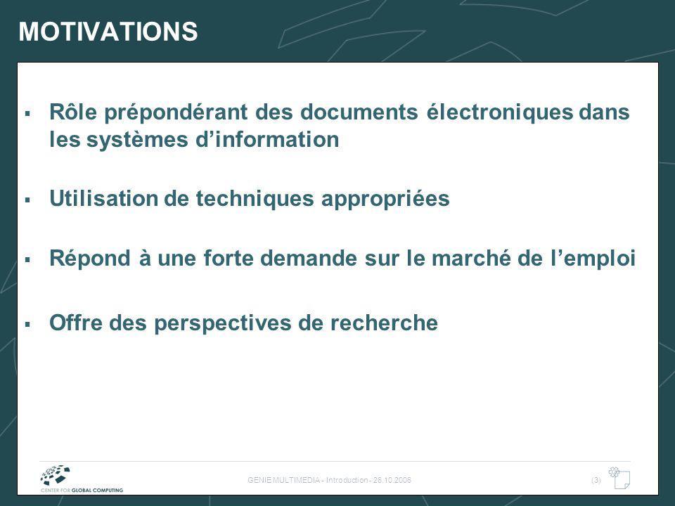 GENIE MULTIMEDIA - Introduction - 26.10.2006(3) MOTIVATIONS Rôle prépondérant des documents électroniques dans les systèmes dinformation Utilisation d
