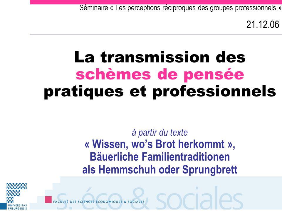 Séminaire « Les perceptions réciproques des groupes professionnels » 21.12.06 La transmission des schèmes de pensée pratiques et professionnels à part