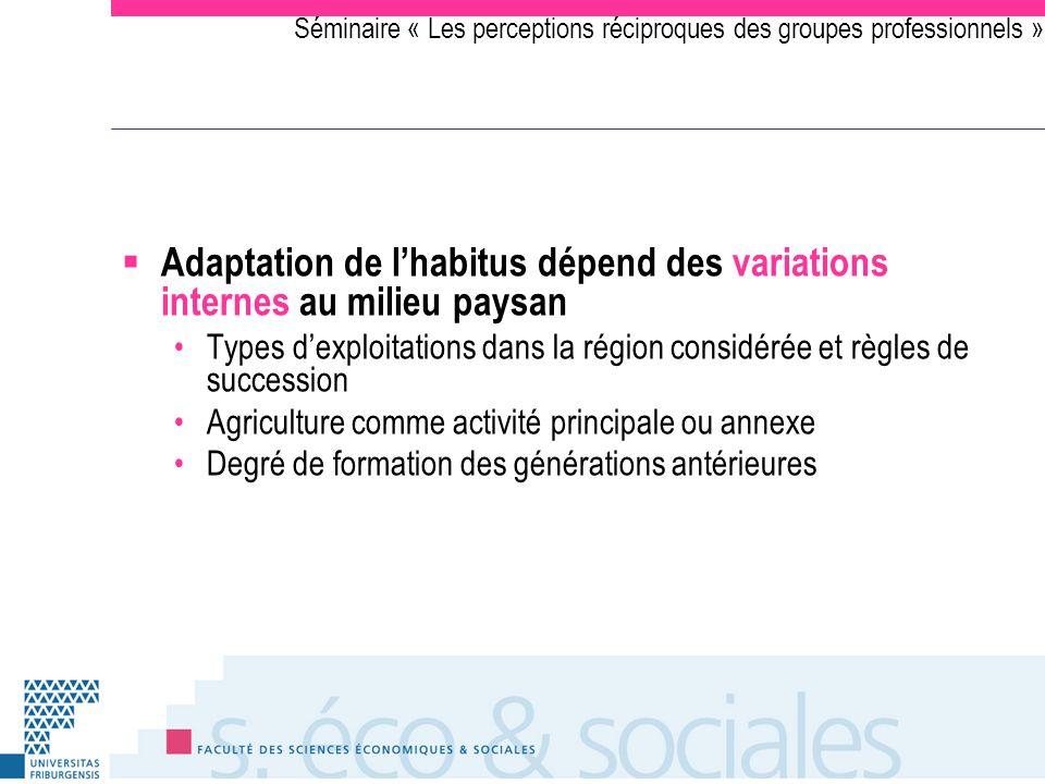 Séminaire « Les perceptions réciproques des groupes professionnels » Adaptation de lhabitus dépend des variations internes au milieu paysan Types dexp