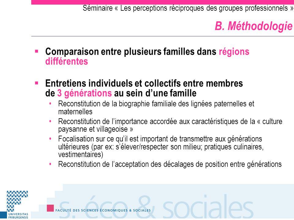 Séminaire « Les perceptions réciproques des groupes professionnels » B. Méthodologie Comparaison entre plusieurs familles dans régions différentes Ent