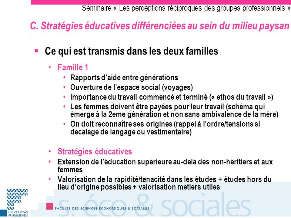 Séminaire « Les perceptions réciproques des groupes professionnels » C. Stratégies éducatives différenciées au sein du milieu paysan Ce qui est transm